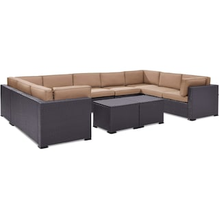 Isla 5-Piece Outdoor Sectional and 2 Coffee Tables - Mocha