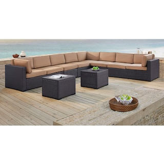 Isla 3-Piece Outdoor Sectional, 2 Armless Chairs, and 2 Coffee Tables
