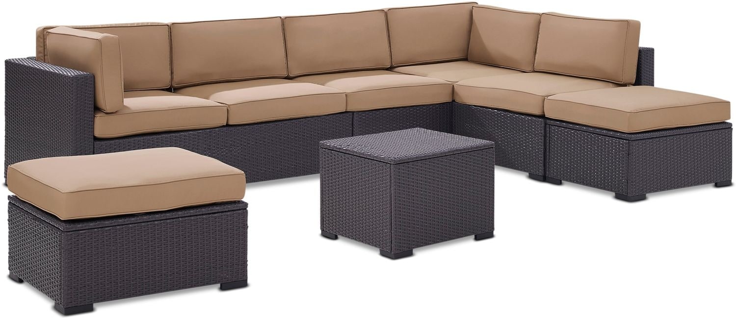 Outdoor Furniture - Isla 3-Piece Outdoor Sectional, Coffee Table, and 2 Ottomans