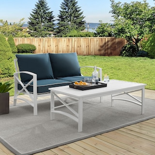 Clarion Outdoor Loveseat and Coffee Table Set - Navy