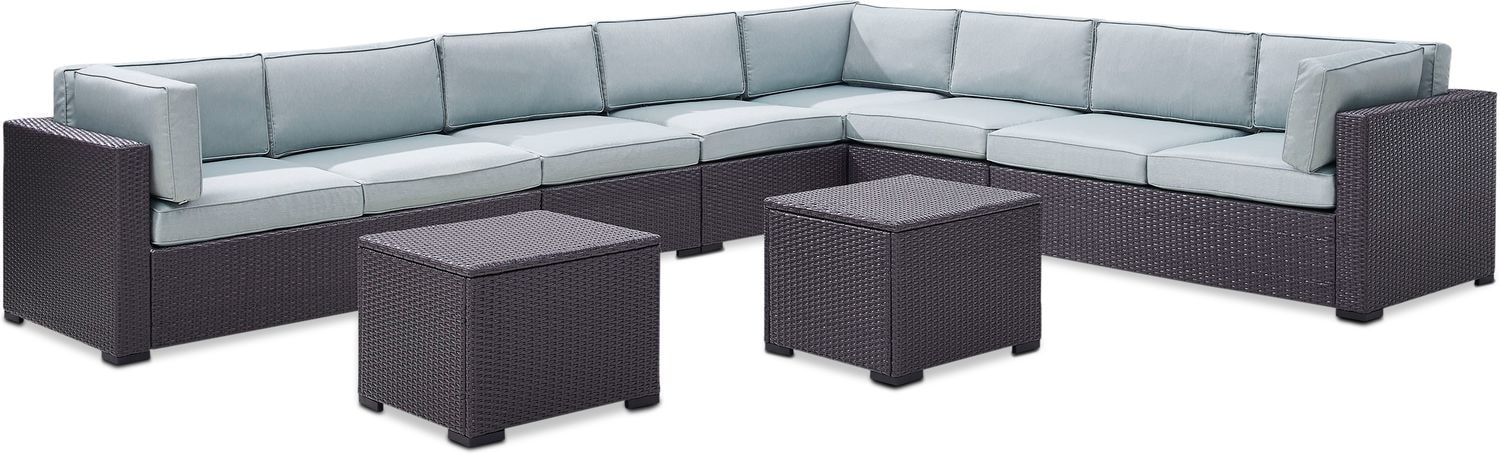 Outdoor Furniture - Isla 3-Piece Outdoor Sectional, 2 Armless Chairs, and 2 Coffee Tables Set