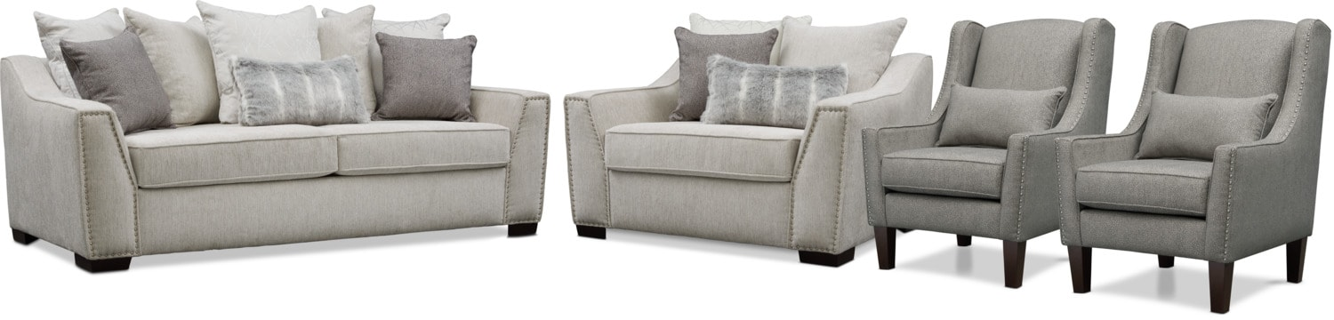 Roxie Sofa, Chair and a Half, and 2 Accent Chairs - Gray