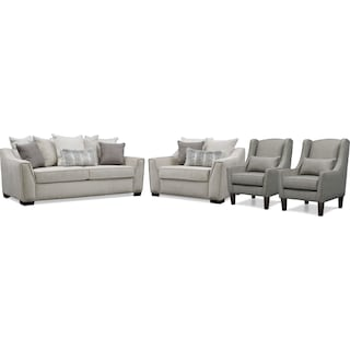 Roxie Sofa, Chair and a Half, and 2 Accent Chairs Set - Gray