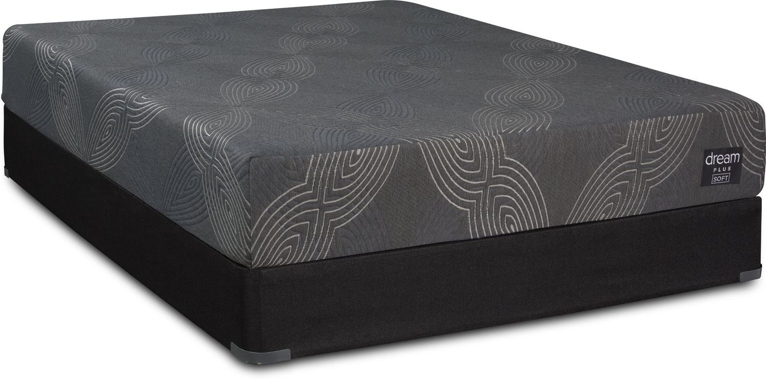 Mattresses and Bedding - Dream-In-A-Box Plus Soft Queen Mattress and Low-Profile Split Foundation
