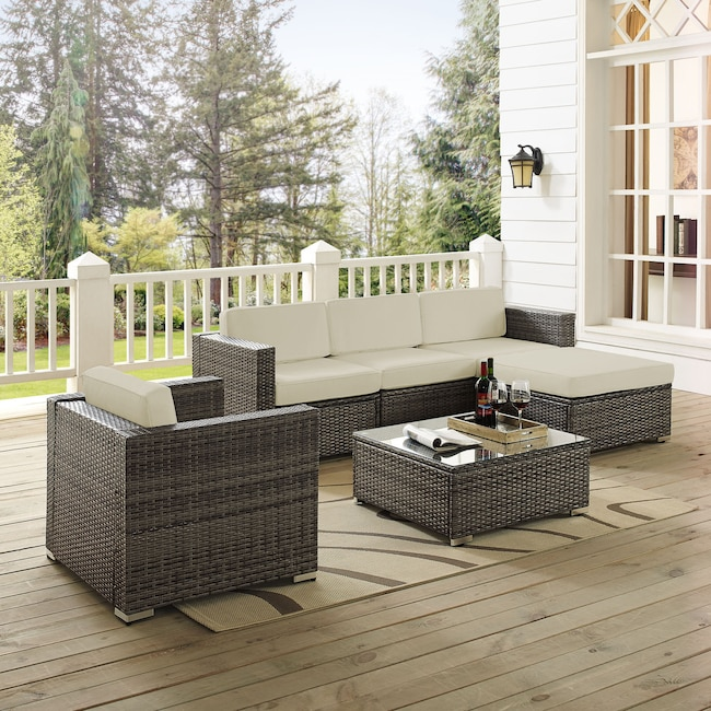 Outdoor Furniture - Jacques 3-Piece Outdoor Sofa, Ottoman, Arm Chair, and Coffee Table Set - Gray