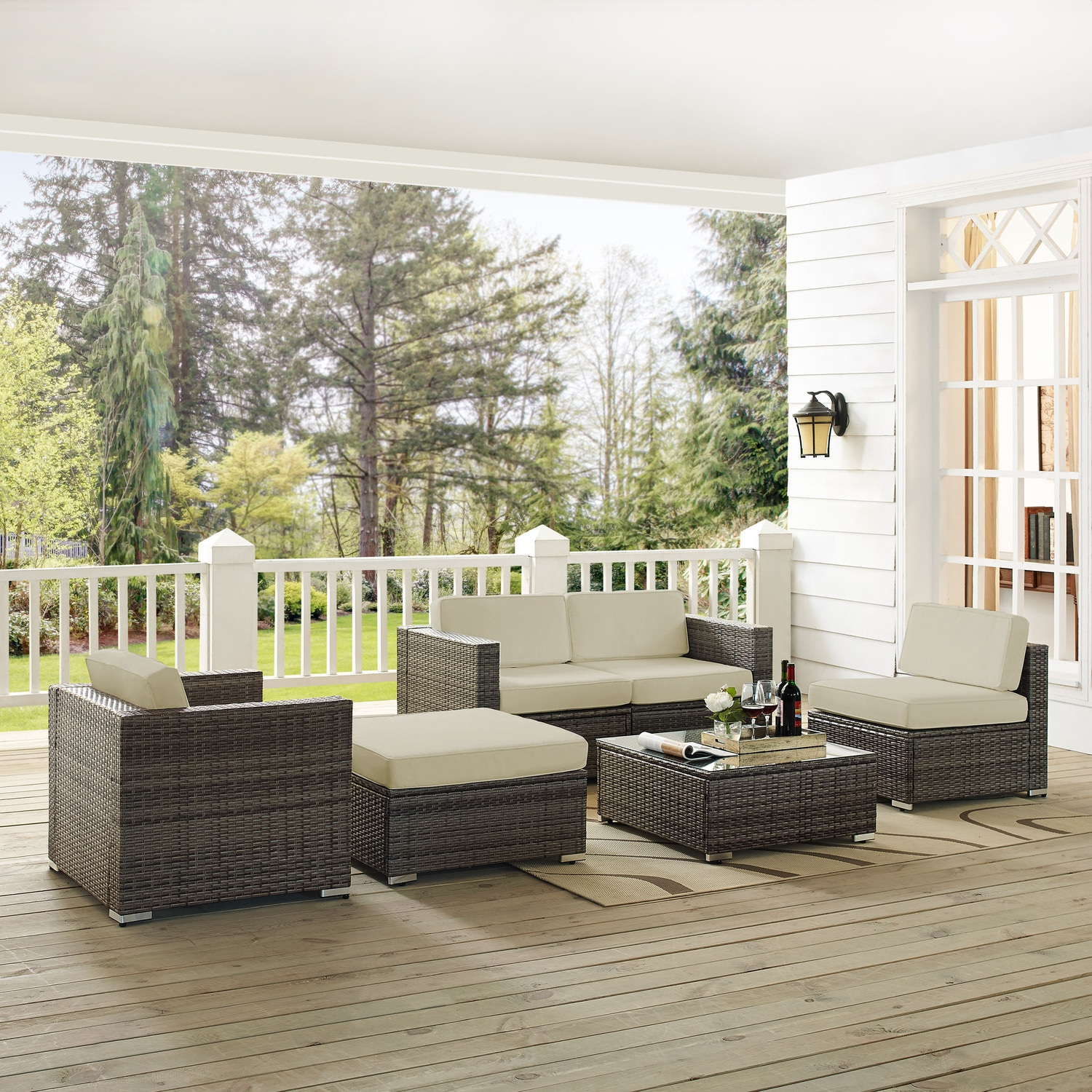Outdoor Furniture - Jacques 2-Piece Outdoor Loveseat, Arm Chair, Armless Chair, Ottoman, and Coffee Table Set - Gray