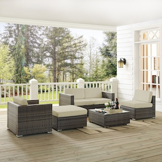 Jacques 2-Piece Outdoor Loveseat, Arm Chair, Armless Chair, Ottoman, and Coffee Table Set - Gray