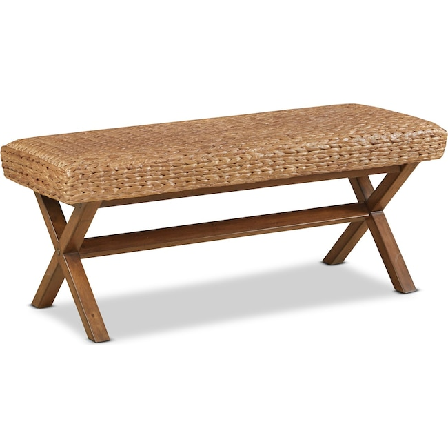Accent and Occasional Furniture - Harbor Wicker Bench-Brown
