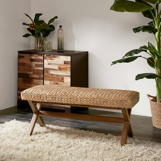 Harbor Wicker Bench-Brown