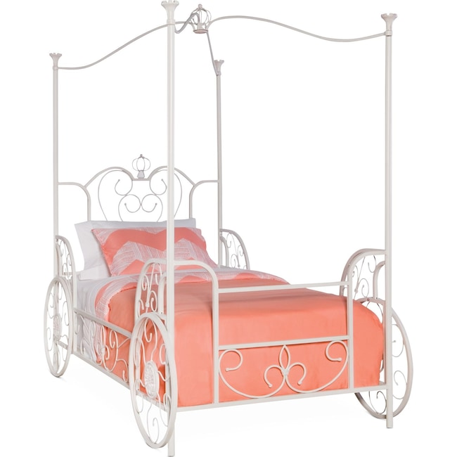 Kids Furniture - Princess Twin Canopy Bed - White