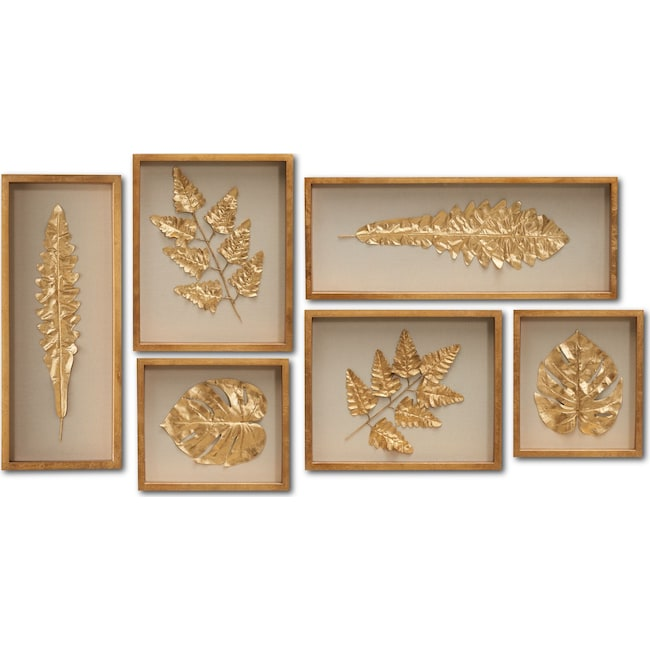 Home Accessories - Golden Leaves Wall Art