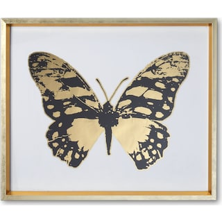 Butterfly Wall Art - Black/Gold