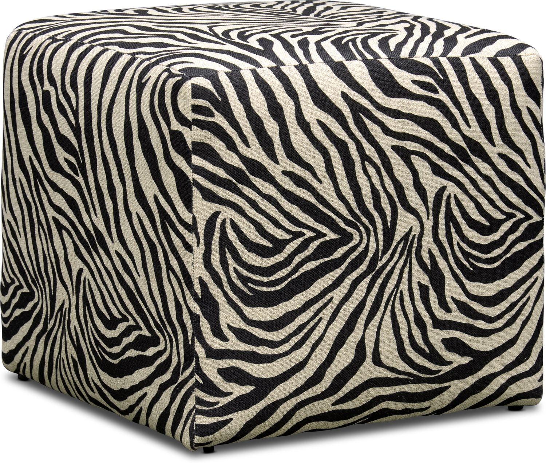 Living Room Furniture - Nala Cube Ottoman - Zebra