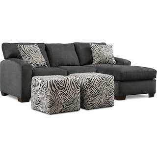Nala Chaise Sofa and 2 Cube Ottomans