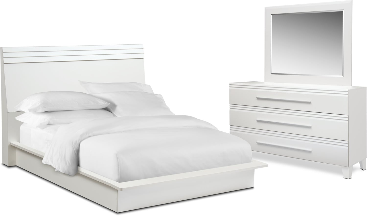 Bedroom Furniture - Allori 5-Piece Bedroom Set with Dresser and Mirror