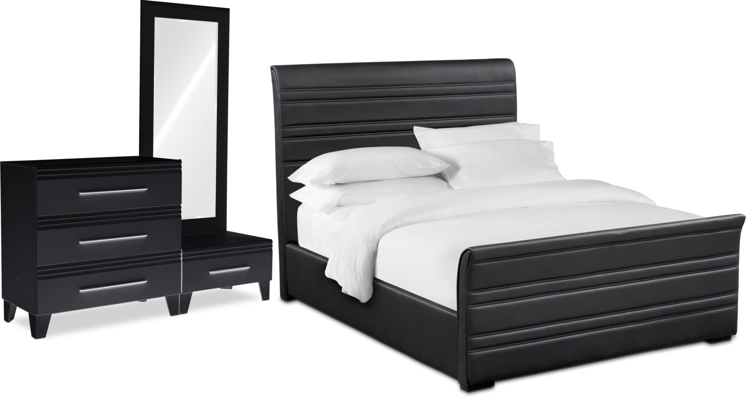 Bedroom Furniture - Allori 5-Piece Upholstered Bedroom Set with Chest and Dressing Mirror