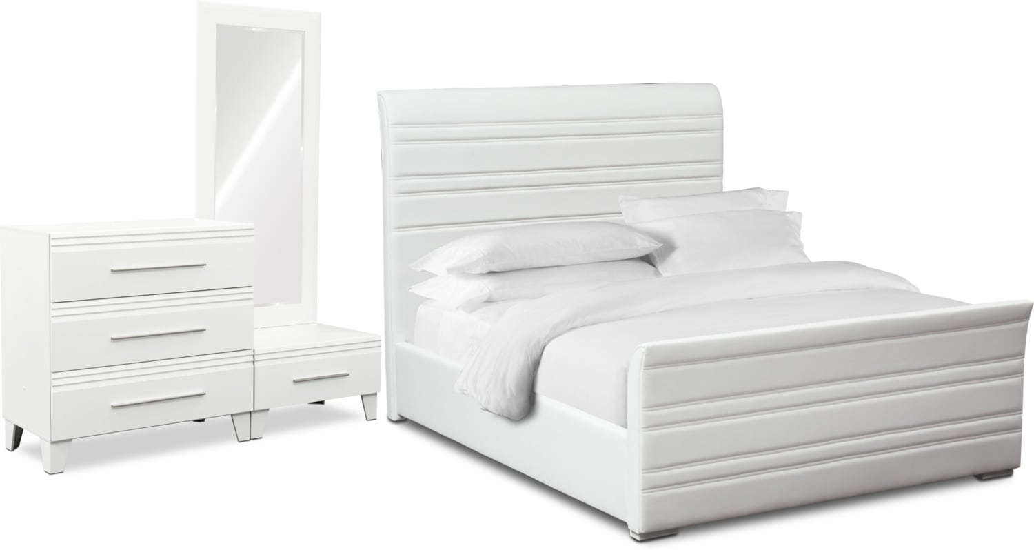 Bedroom Furniture - Allori 5-Piece Upholstered Bedroom Set with Chest