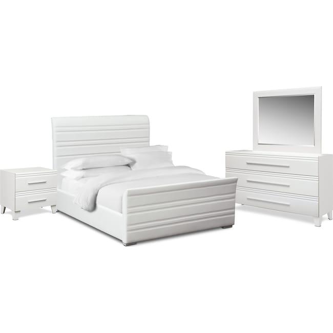 Bedroom Furniture - Allori 6-Piece King Upholstered Bedroom Set - White