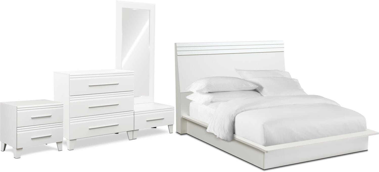 Bedroom Furniture - Allori 6-Piece Panel Bedroom Set with Nightstand, Chest and Dressing Mirror
