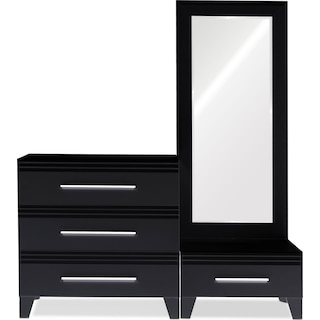 Allori Dresser, Mirror, and Chest Set - Black
