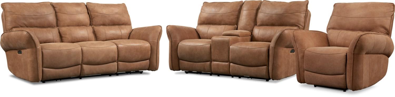 Living Room Furniture - Aspen 3-Piece Sofa, Loveseat and Recliner