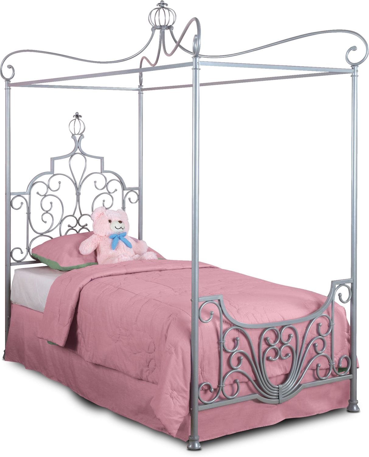 Kids Furniture - Princess Twin Canopy Bed - Gray