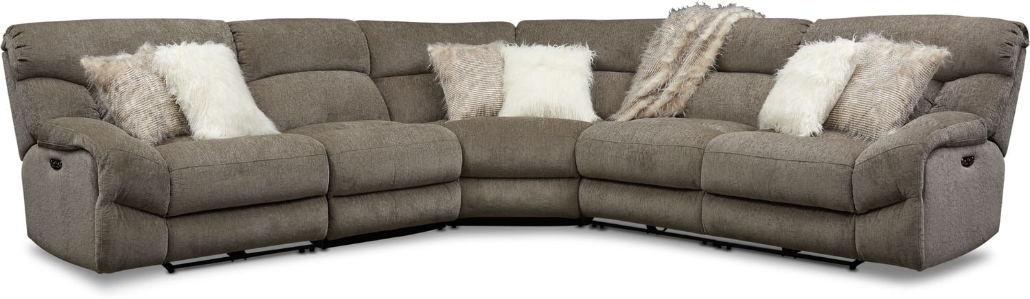 Living Room Furniture - Wave 5-Piece Dual-Power Reclining Sectional with 3 Reclining Seats