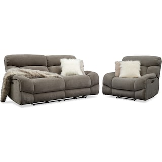 Wave Dual Power Reclining Sofa and Recliner Set