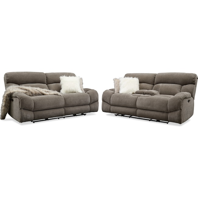 Living Room Furniture - Wave Dual-Power Reclining Sofa and Loveseat Set