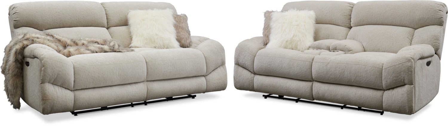 Living Room Furniture - Wave Dual Power Reclining Sofa and Loveseat Set