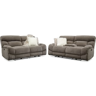 Wave Manual Reclining Sofa and Loveseat Set