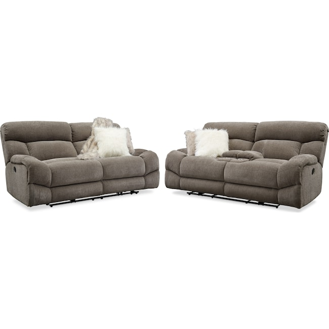 Wave Manual Reclining Sofa And Loveseat Set Value City