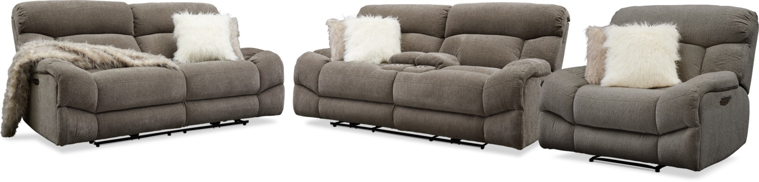 Living Room Furniture - Wave Dual Power Reclining Sofa, Loveseat and Recliner Set