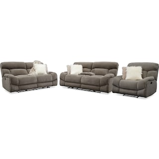 Wave Manual Reclining Sofa, Loveseat and Recliner
