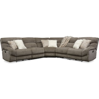 Wave 5-Piece Manual Reclining Sectional with 2 Reclining Seats - Ash