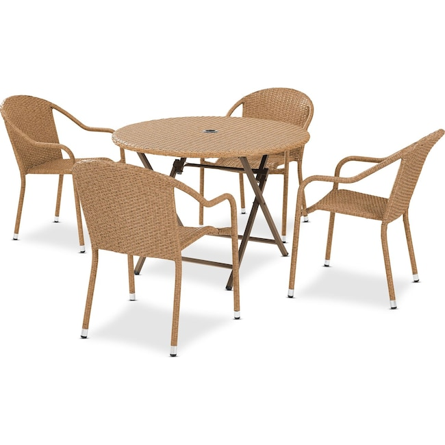 Outdoor Furniture - Aldo Outdoor Café Table and 4 Arm Chairs - Light Brown