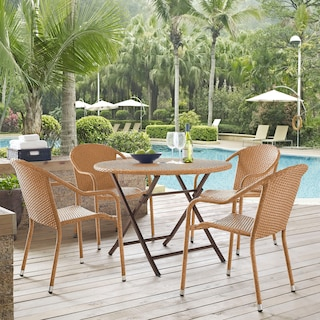 Aldo Outdoor Café Table and 4 Arm Chairs - Light Brown