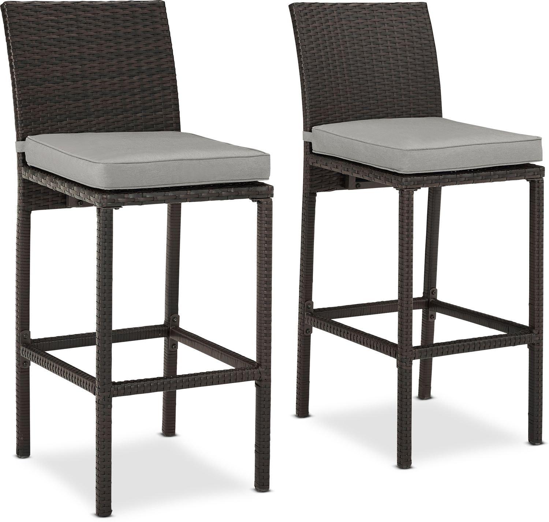 Outdoor Furniture - Aldo Set of 2 Outdoor Bar Stools