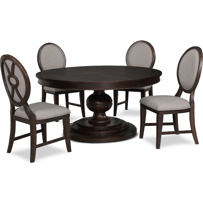 Dining Room Furniture - Wilder Round Dining Table and 4 Upholstered Chairs