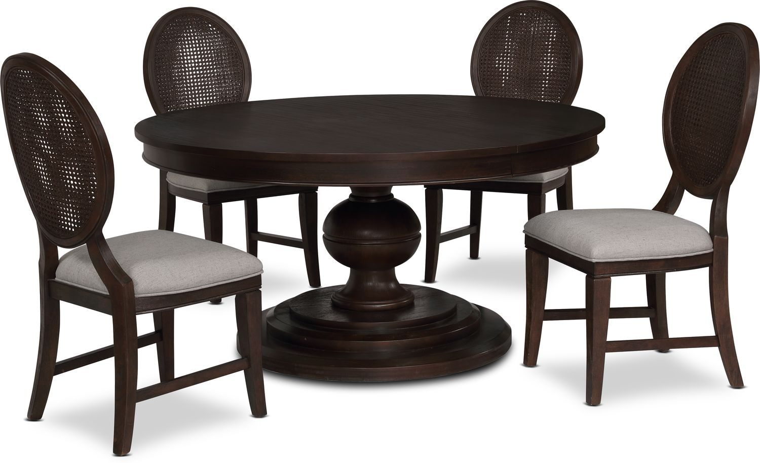 Dining Room Furniture - Wilder Round Dining Table and 4 Side Chairs