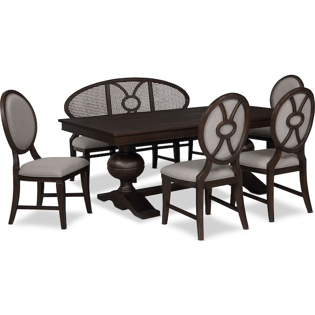 Dining Room Furniture - Wilder Rectangular Dining Table, 4 Upholstered Chairs and Bench
