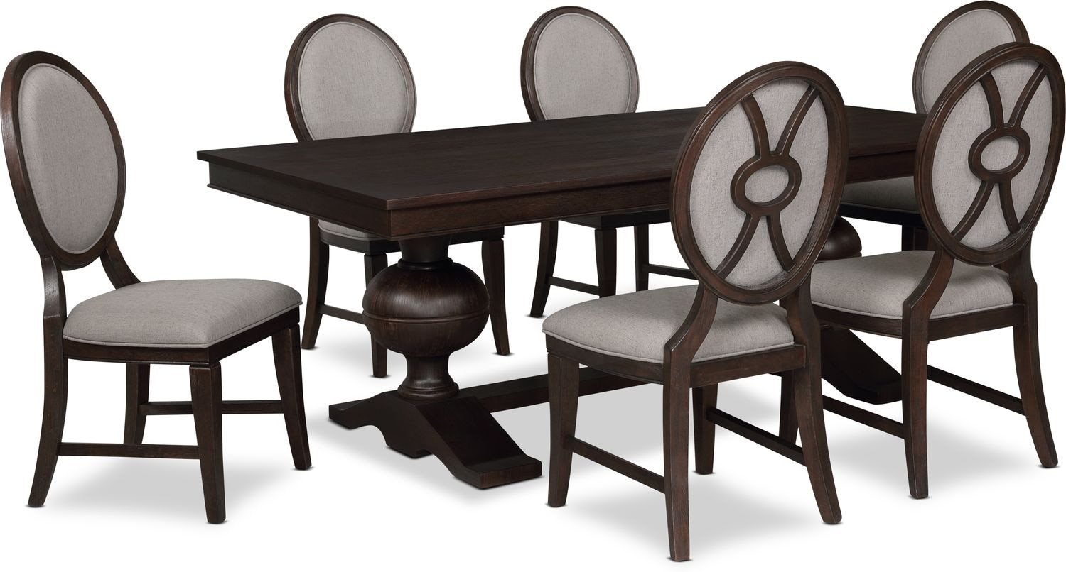Dining Room Furniture - Wilder Rectangular Dining Table and 6 Upholstered Chairs