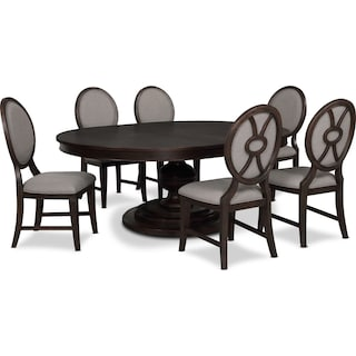 Wilder Round Dining Table and 6 Upholstered Chairs
