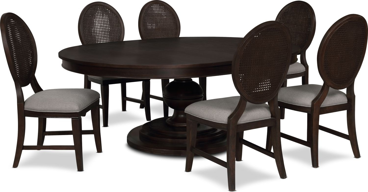 Dining Room Furniture - Wilder Round Dining Table and 6 Side Chairs