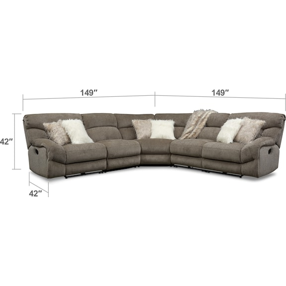 Living Room Furniture - Wave 5-Piece Manual Reclining Sectional with 3 Reclining Seats and Recliner