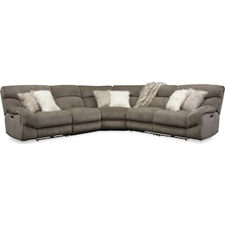 Wave 5-Piece Dual-Power Reclining Sectional with 2 Reclining Seats and Recliner - Ash