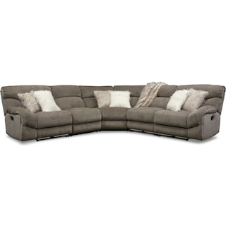 Wave 5-Piece Manual Reclining Sectional with 3 Reclining Seats and Recliner -Ash