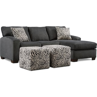 Nala 2-Piece Sectional with Chaise and 2 Cube Ottomans