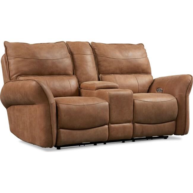 Living Room Furniture - Aspen Dual Power Loveseat - Tan
