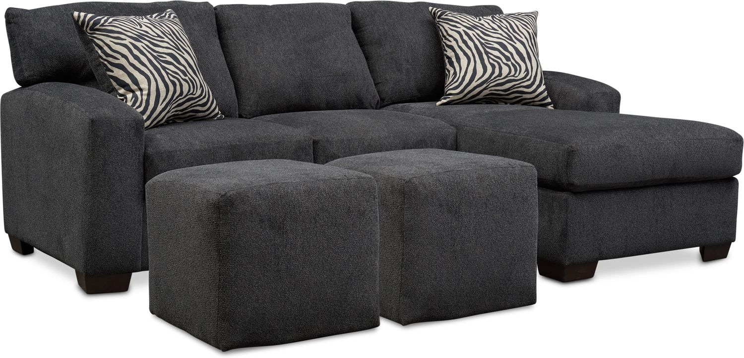 Living Room Furniture - Nala 2-Piece Sectional with Chaise and 2 Solid Cube Ottomans